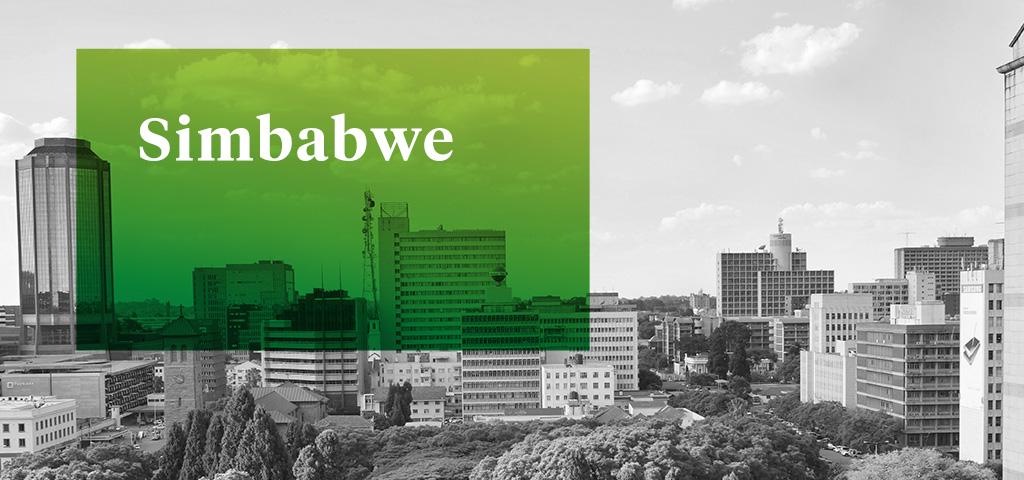 Gebäude und Park in Midtown Harare, Simbabwe